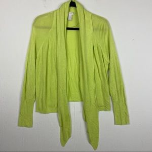 Chico's Green Open Front Cardigan Sweater